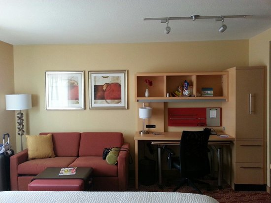 Towneplace Suites Thunder Bay Pull Out Sofa Bed And Desk Area