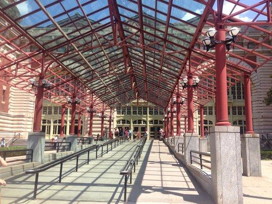 Ellis Island: Walkway into main hall off the boat.