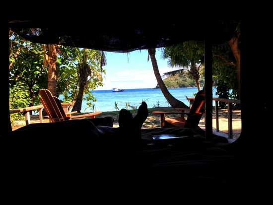 Barefoot Manta Island: View from the bed of a premium bure.  :)