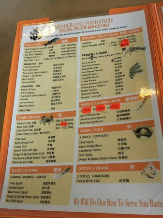 Wonderland Food Store: Menu and price reference (Aug 2014)