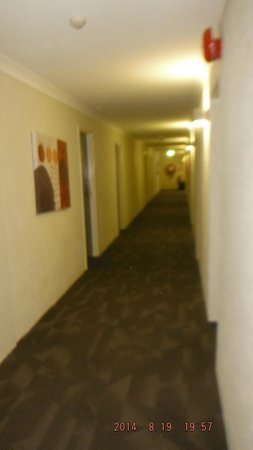 Tall Trees Hotel: Upper hallway in 'older' section after new carpet laid