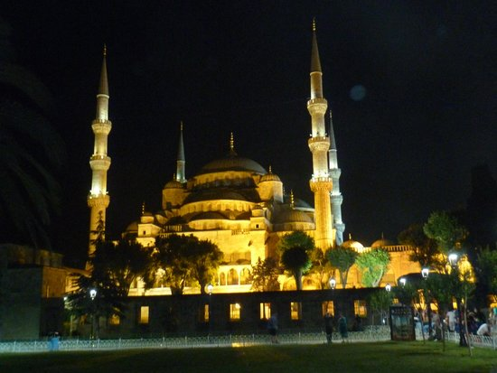 Historic Areas of Istanbul: Blue Mosque at night