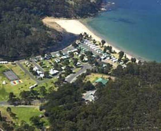 Eden Beachfront Holiday Park: Eden Beachfront  - Aerial view, the only caravan park in Eden to enjoy absolute beachfrontage