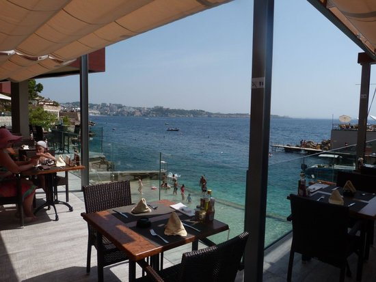 Hotel Riu Palace Bonanza Playa : Vue mer de restaurant piscine