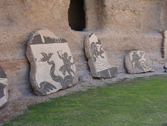 Thermes de Caracalla : Mosaïques exposées