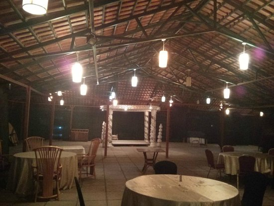 PrideInn Hotel Raphta: This is external seating for dining.. Setup at the far end is of Indian marriage Very pretty