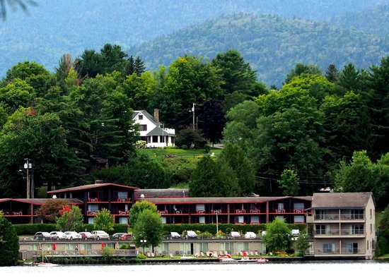 Lake House: View of the hotel from across the lake