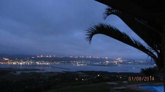 Brenton Hill Self Catering: View from the stoep at night