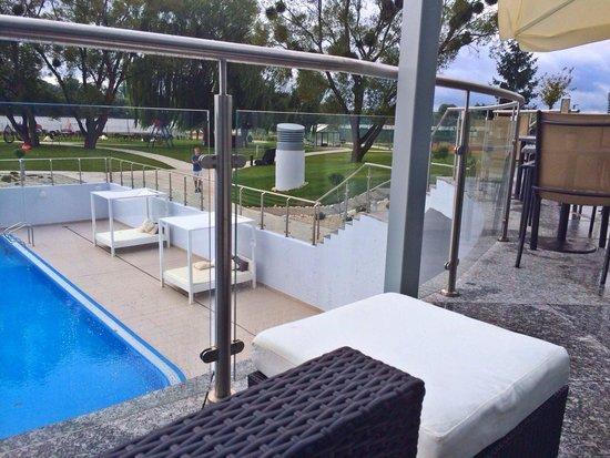 Copernicus Torun Hotel : Outdoor Pool eating  breakfast on the balcony