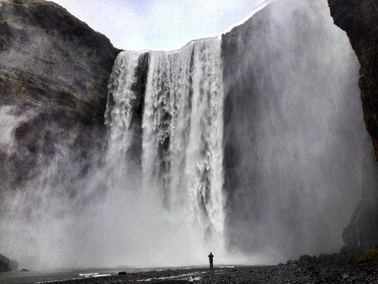 dramatised Skogafoss waterfall
