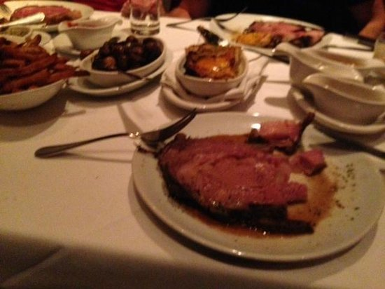 Fleming's Prime Steakhouse & Wine Bar: Dinner - Prime Rib. Sides (showing) - jalapeno cheddar potatoes, mushrooms, french fries.