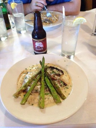 Fishermans Corner: Swordfish with grilled asparagus and Gouda grits.