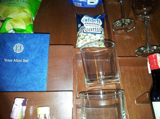 Shambaling Boutique Hotel: The minibar - The pack of nuts carried my name :-)