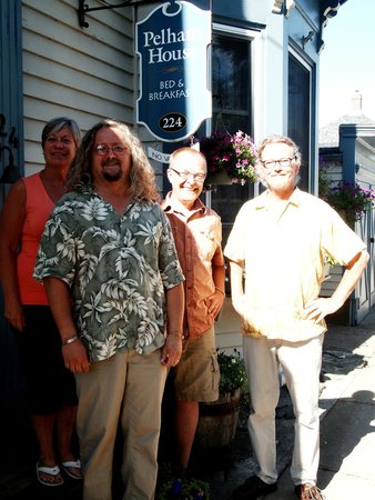 Pelham House Bed & Breakfast: Nancy and Fred (orange shirt) with Pelham House owners and new friends David and Michael