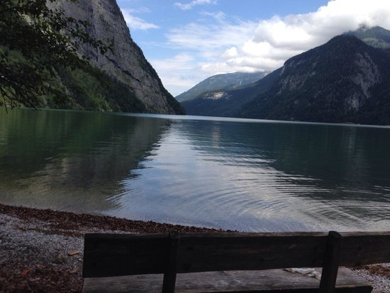 Königssee: The lake shore as seen from St.Bartholomew.
