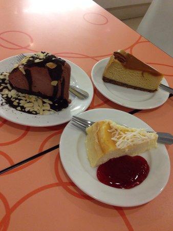 Calea: Mud Pie, caramel pecan cheesecake and white chocolate cheesecake