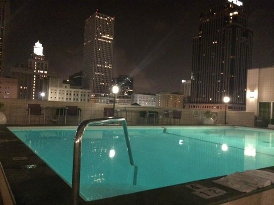 Holiday Inn Downtown Superdome : Pool at night -- during our stranded  10 minutes on the roof
