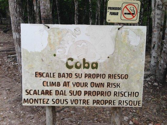 Coba Mayan Village: sign near ruin