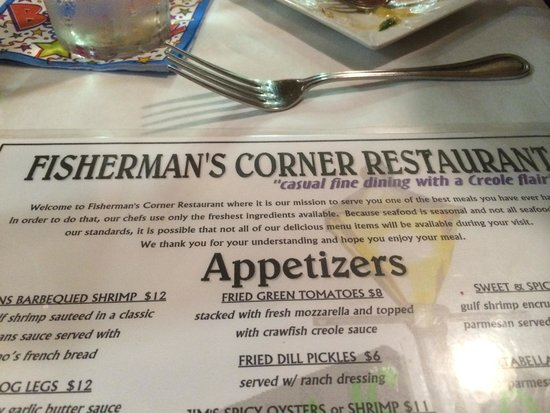 Fishermans Corner: Menu