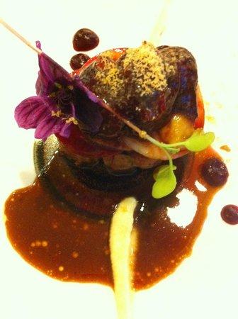 Likoke : Pork neck, boudin noir, beet root, apple (What a bomb)