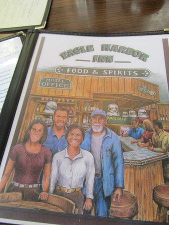 Eagle Harbor Inn: The Menu Cover with all the Family Members