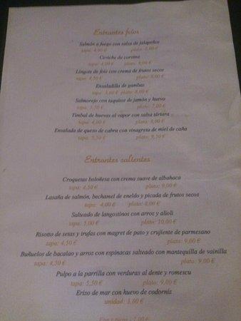 Albarama Restaurante Tapas: Carta