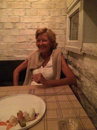 Maison Manesse : My friend Lisa enjoying herself at the restaurant!