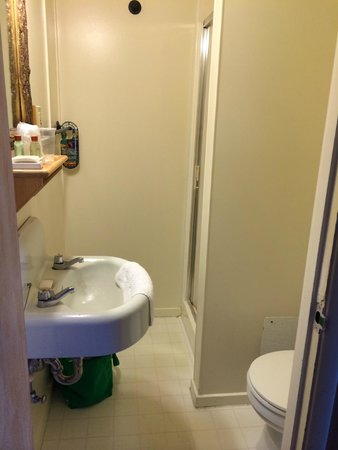 Paradise Inn at Mount Rainier: Painfully small bathroom..barely functional.