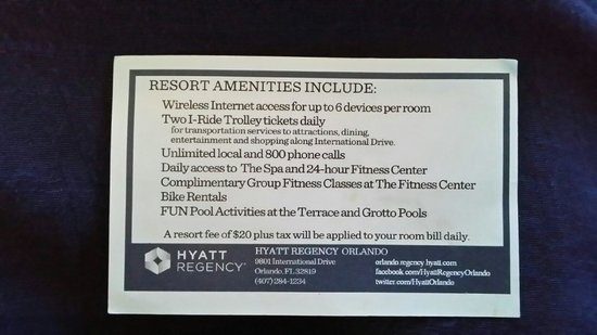 Hyatt Regency Orlando: A small card given to us together with our access cards upon our arival.