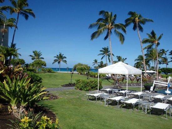 Waikoloa Beach Marriott Resort & Spa : from pool deck towards beach