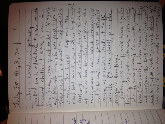 Hacienda Tamarindo: our journal entry from guest room page 1