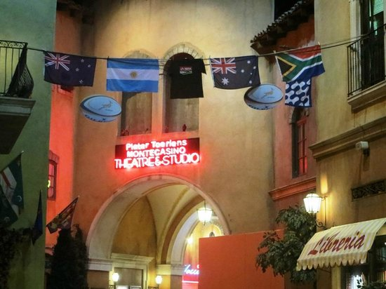 Montecasino : Current rugby tournament flags displayed.
