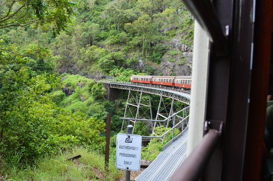Kuranda Scenic Railway: view from our car looking back at the end of the train