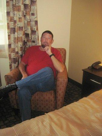 Super 8 Clive/W Des Moines: Me, enjoying the chair