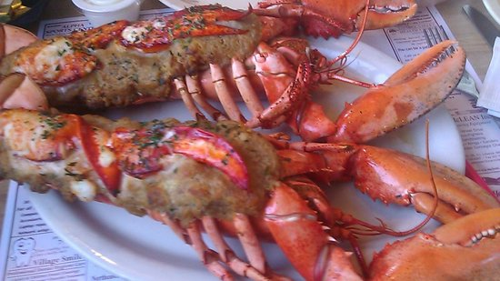 Bay Haven Lobster Two: Twin baked stuffed lobsters. Seasoning needed in the stuffing. Lobster moist despite the baking.