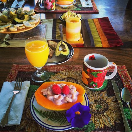 Lilikoi Inn : First course of breakfast, with all local ingredients.