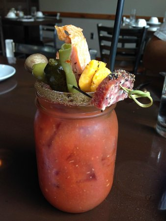 The Trout House at Rushing Waters : The BEST Bloody Mary--note the dilly bean front and center!