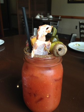The Trout House at Rushing Waters : The Bloody Mary included smoked trout and salmon too!