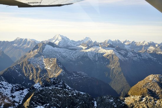 Milford Sound: Southern alps from above