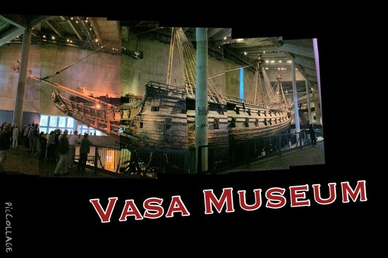 Vasa Museum: picture collage of the ship, it was toooooo huge to fit into one photo XD