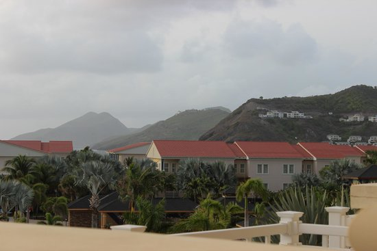 St. Kitts Marriott Resort & The Royal Beach Casino: View of St. Kitts Mountains and resort villas from my balcony
