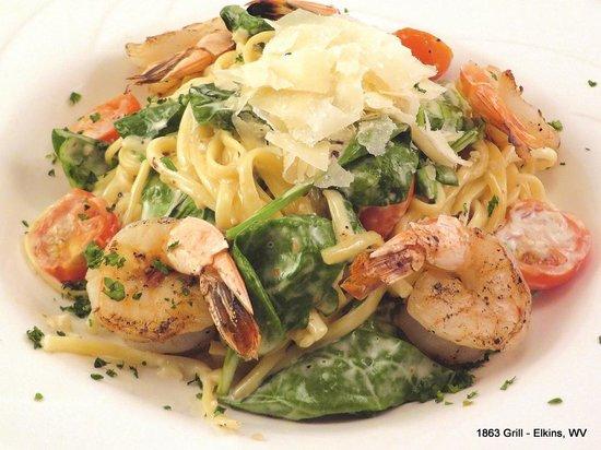 1863 Grill: Pasta Primavera with Grilled Shrimp
