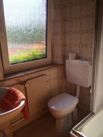 Hotel Gasthof Zur Linde: バス、洗面器とトイレ