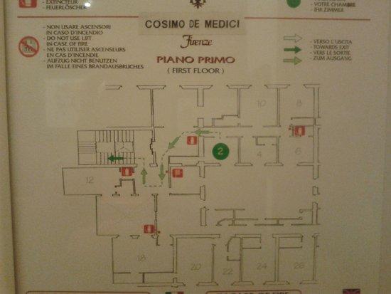 Hotel Cosimo de' Medici: piantina stanze