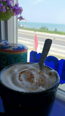 Maggie's European Bakery & Cafe: Chestnut Cappuccino with the peaceful ocean view.