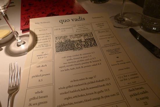 Quo Vadis : menu