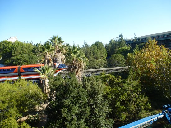 Disney's Grand Californian Hotel & Spa: another view of the monorail from the balcony