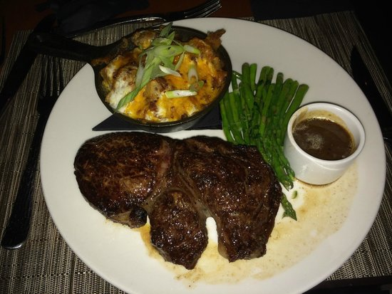 WiseGuys: 14 oz Rib-Eye with Loaded Baked Skillet Potatoes