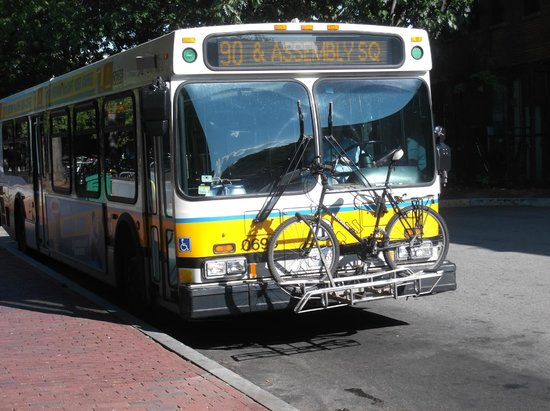 Bus at Davis Square station with cradel for carrying bicycles