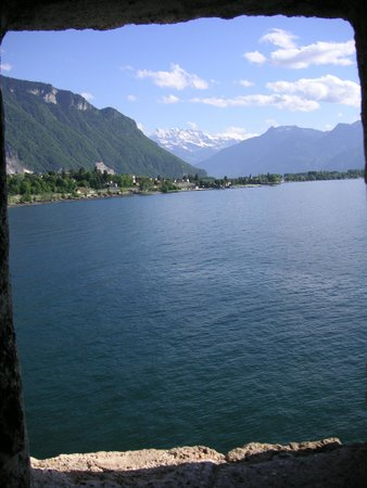 Chateau de Chillon: View of the alps from within